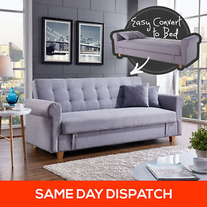 3 Three Seater Storage Corner Sofa Bed Futon Couch Lounges Suite ...