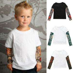 Kids-Boys-Long-Sleeve-T-Shirt-Mesh-Tattoo-Printed-Sleeve-Tee-Tops-O-Neck-Shirts