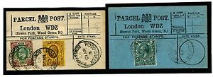 1536 1907-3 GB London *Bowes Park, Wood Green* Parcel Post Labels Matched Pair
