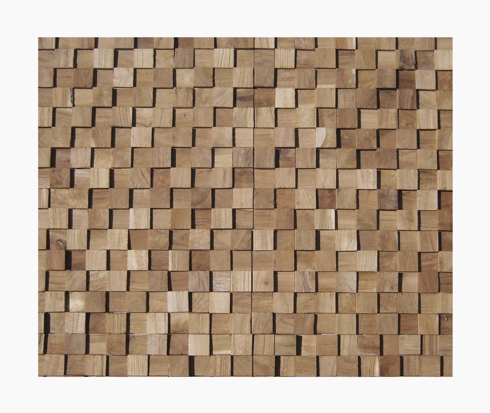 1 qm HO-004 Teakholz Wand-Design Verblender - Mosaik Fliesen Lager Herne NRW -