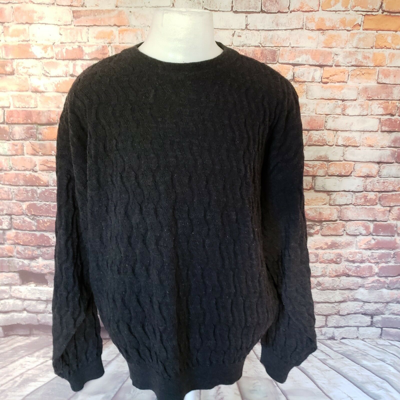 JHANE BARNES MEN'S WOOL BLEND CABLE KNIT SWEATER SIZE L A70-14