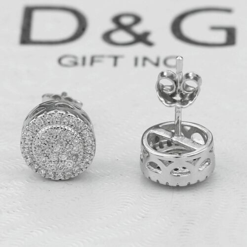 Box DG Men/'s Sterling Silver 925 Brilliant CZ 9mm,Round*Earring Unisex