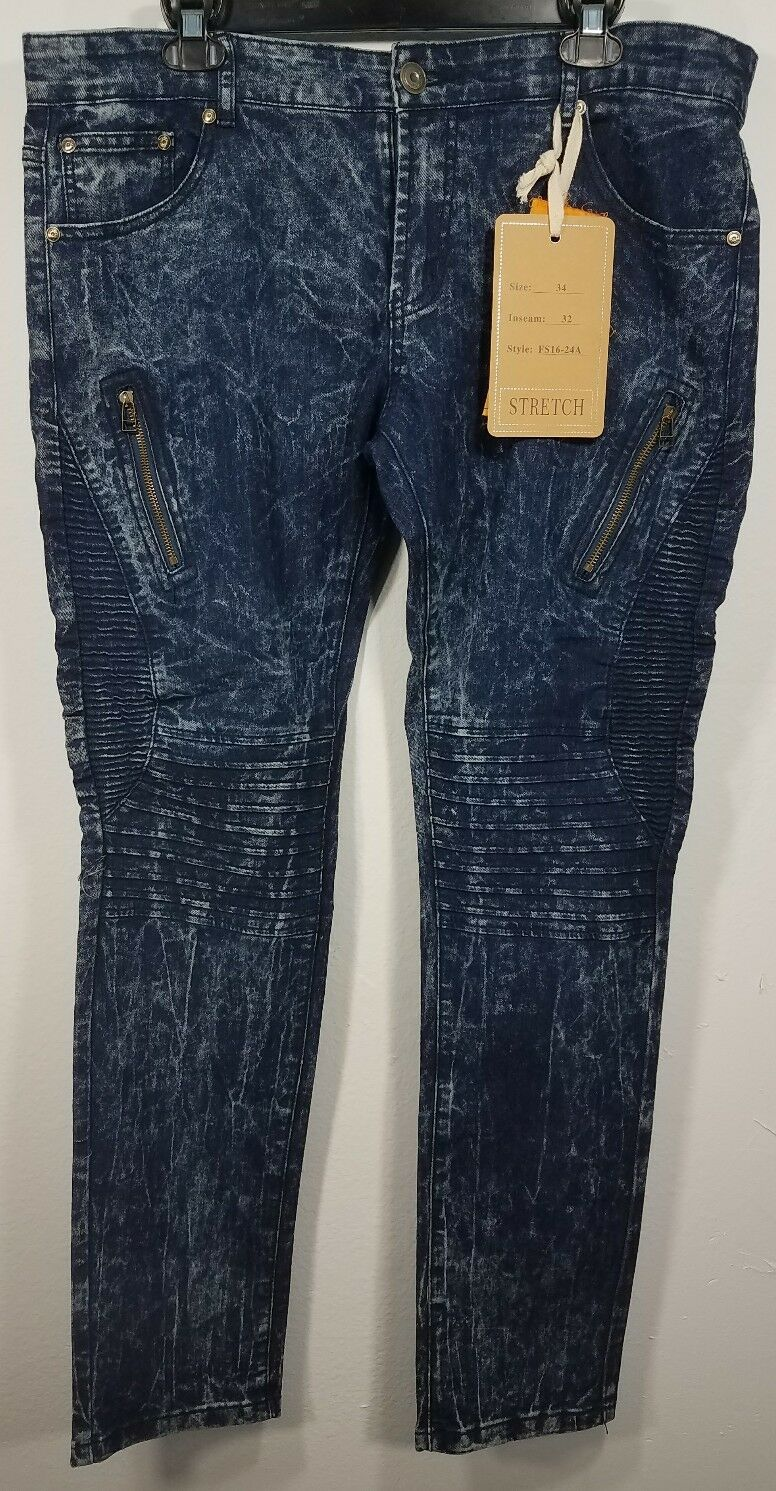 FUSAI Slim Stretch Biker Moto Jeans With Zippers Looks 32 32