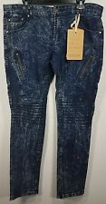 FUSAI Slim Stretch Biker Moto Jeans With Zippers Looks Like Balmain 34/32