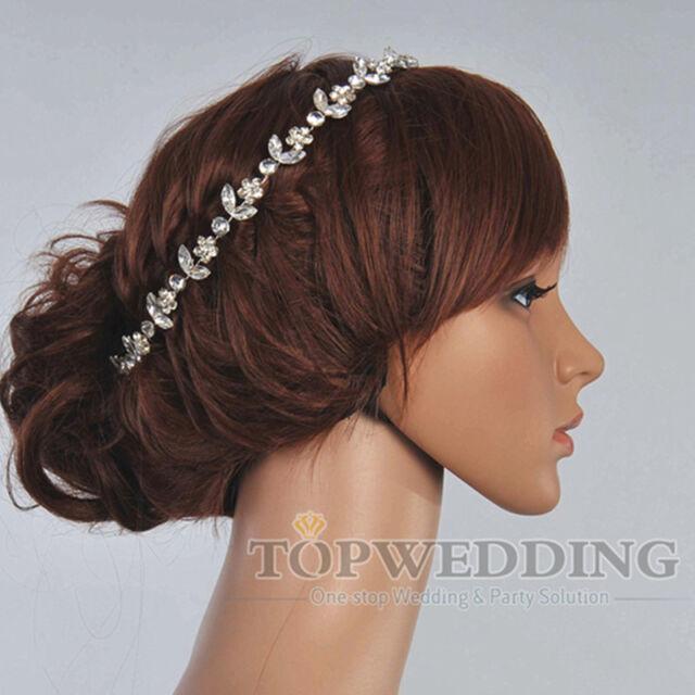 Fashion Wedding Bridal hair flower w/ White Rhinestones Hair Pin Hair Accessory