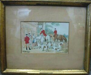Antique-Framed-British-Watercolour-Painting-ink-sketch-E-B-HERBERTE-1857-1893