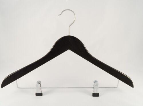 NEU schwarz 5 Stück 45cm flach Holzbügel für Anzüge und Zweiteiler mit Clip