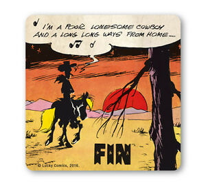 Comics-Lucky-Luke-Einsamer-Cowboy-Coaster-Untersetzer-Bierdeckel-LOGOSHIRT