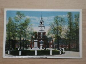 Barry-Statue-amp-Independence-Hall-Philadelphia-PA-Historical-Postcard