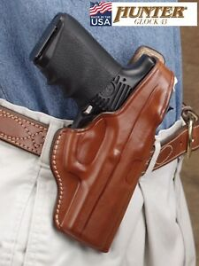 Details about Hunter Leather Concealment Holster For GLOCK 43 OWB Fitted  Thumb Break High Ride