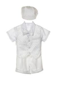 White baby BOY Christening Formal Suit Tuxedo VEST Suit set size S-4T 0-36M
