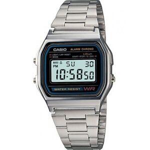 Orologio-CASIO-Watch-Unisex-A158WA-1DF-Acciaio-Vintage