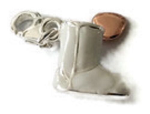 3D LOVELY WHITE /& SILVER BOOT WITH ROSE GOLD HEART CLIP ON CHARM SILVER PLATE
