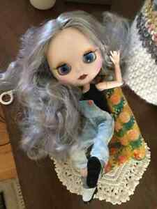 """ICY Blythe Doll Nude 12/"""" Joint Body Long Hair Matte Face Dark Skin Eyes 4 Color"""