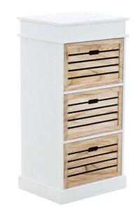 Détails sur Meuble ELENA tiroirs bois blanc salle de bain chambre armoire  rangement neuf