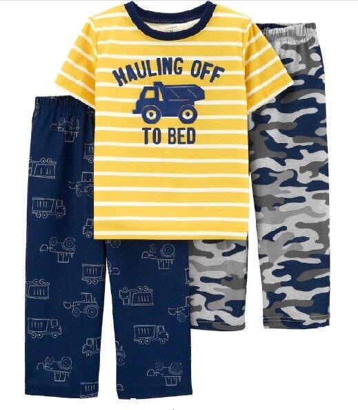 Size 5 Yellow Carters Boys Construction 3-Piece Pajama Set