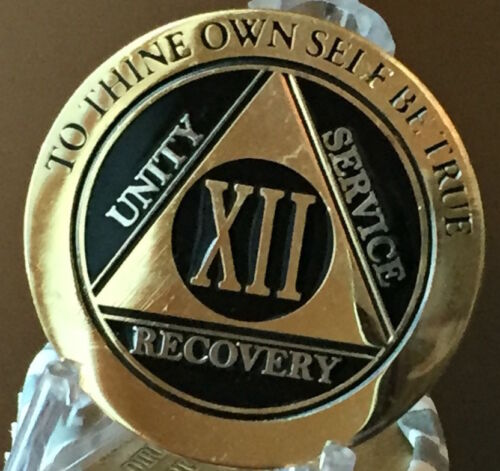 12 Year AA Medallion Black Gold Plated Bi-Plate Alcoholics Anonymous Chip Coin