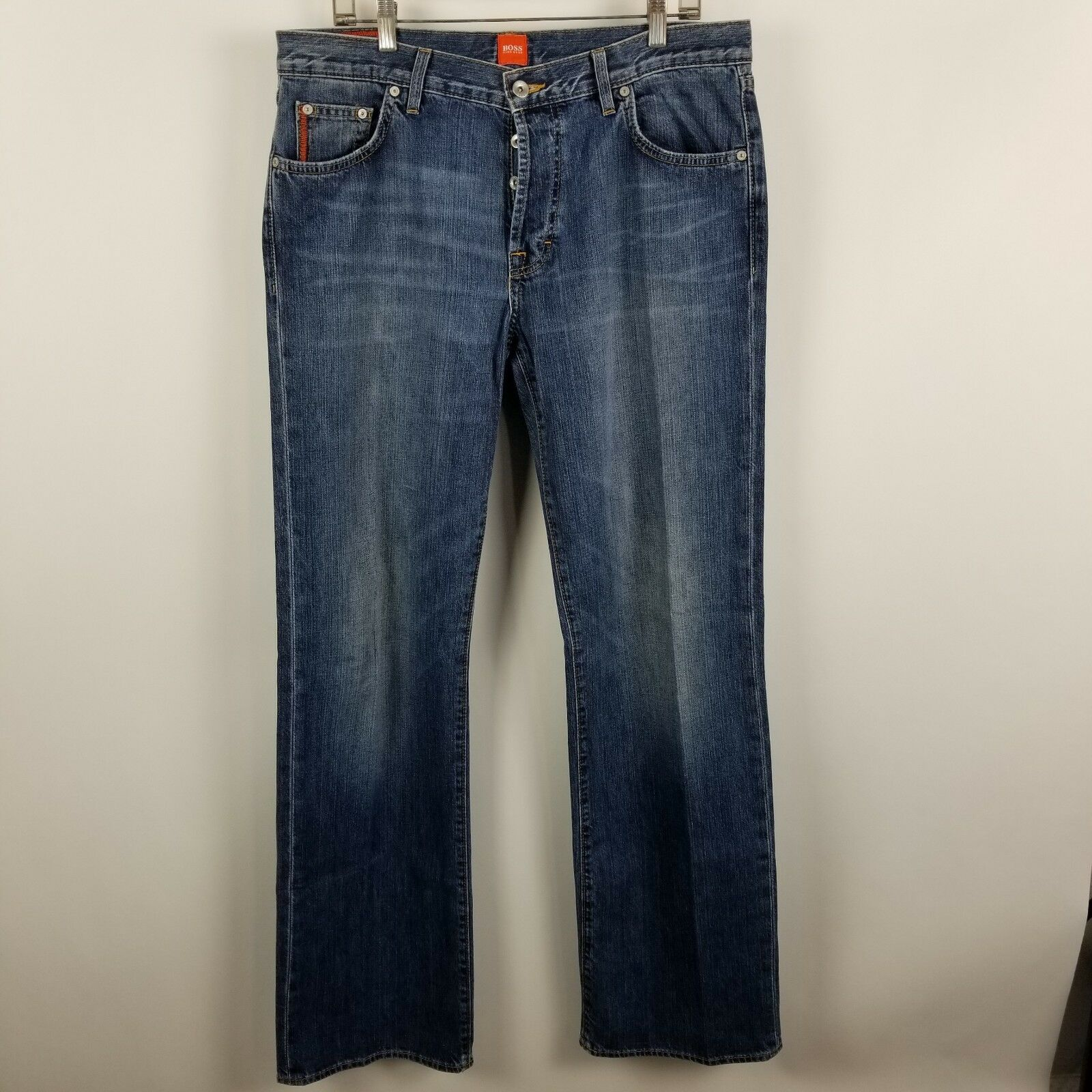 Hugo Boss Relaxed Straight Leg Button Fly Mens bluee Jeans Size 34x34