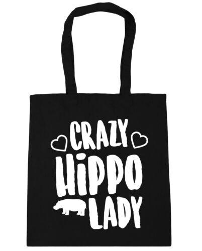 10 litres Crazy hippo lady Tote Shopping Gym Beach Bag 42cm x38cm