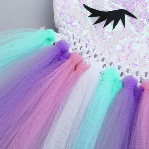 Flower Girl Kids Rainbow Fancy Tutu Dress Cartoon Princess Party Wedding Costume