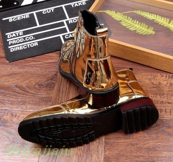 Fashion Men's Gold Metallic Side Zip High High Zip Top Ankle Boots Punk Hippop Shoes Y233 c68a5a