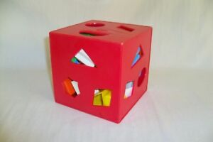 Vintage-Child-Guidance-Toy-Shapes-Red-Square-Box