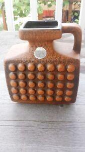 Great Vintage Midcentury Modern Ceramic Pitcher Vase – Rust Brown Geometric
