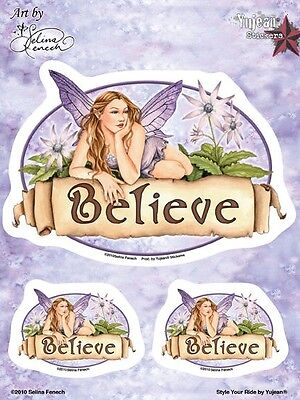 BELIEVE FAERIE Fairy Sticker Set Car Decal Selina Fenech Large Faery & 2 Minis