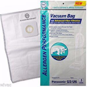 3 Panasonic U3 U6 Upright Vacuum Bags Allergen Performance