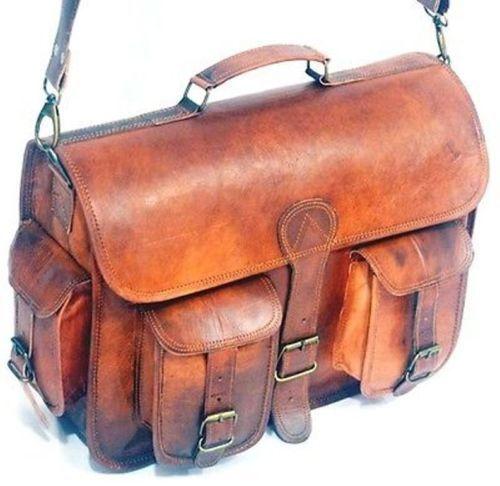 """15/"""" Men/'s Real Goat Leather messenger bag laptop computer case shoulder bag"""
