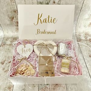 Details About Personalised Bridesmaid Gift Box Hamper Thank You Shabby Chic Wedding