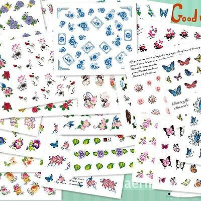 Lot 50 Sheet Nail Art Flower Wrap Water Transfer Slide Flower Decals Stickers AS