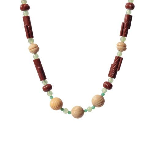 Vintage necklace bohemian glass art deco brown beige