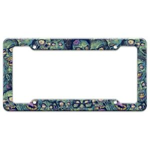 Zombie-Pattern-Dead-Corpses-Undead-Horror-License-Plate-Tag-Frame