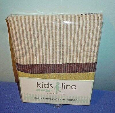 1pr Curtains Kids Line Animal Acres Window Valence Green Brown Stripes #260V NEW