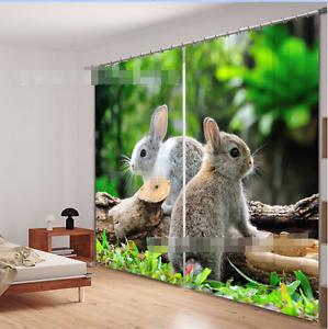 3D gris Conejo 3 Cortinas de impresión de cortina de foto Blockout Tela Cortinas Ventana Reino Unido