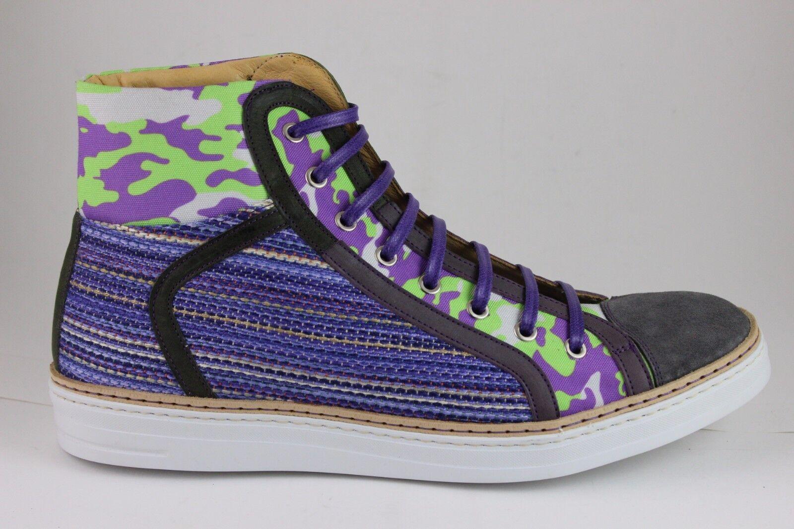 Robert Graham Men's Hizza HI Top Sneakers bluee 50587 Brand New in Box