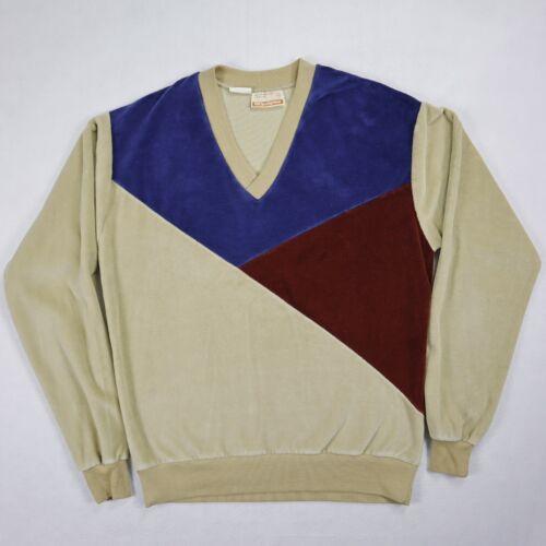 Sears Sportswear mens velour sweater medium brown… - image 1