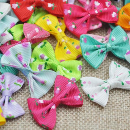 20//40pcs Grosgrain Ribbon Bows Flowers Craft Appliques Wedding Decoration A164
