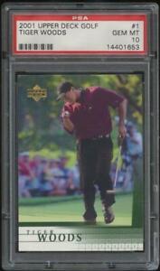 2001 Upper Deck Golf #1 TIGER WOODS Rookie Card RC Base PSA 10 GEM MT GOAT AL6