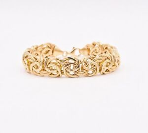 13mm-Diamond-Cut-Satin-Shiny-Byzantine-Bracelet-Real-14K-Yellow-Gold-7-5-034