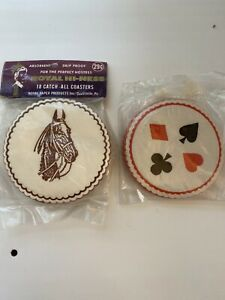 2-Vintage-Packages-of-Paper-Coasters-Horses-Playing-Cards-NOS