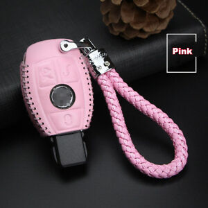For-Benz-3-buttons-Genuine-leather-car-key-case-holder-cover-remote-fob-Pink