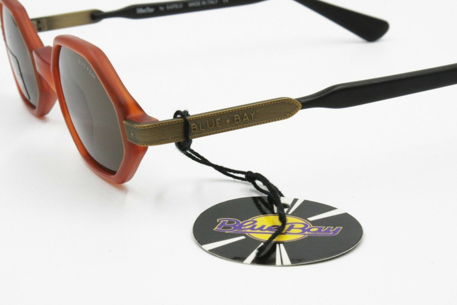 Blue Bay by by by Safilo Sunglasses octagonal little, brass aged arms inserts, NOS 90s 2a076f