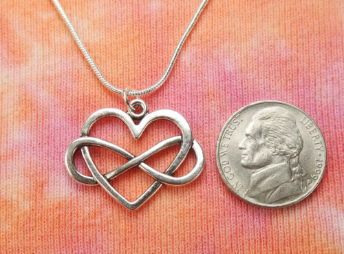 Infinity Heart Necklace Love Charm Pendant Jewelry Polyamory Symbol Gift Boxed