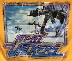 1980-STAR-WARS-Vintage-T-SHIRT-At-At-Walkers-Size-M-ESB-Iron-On-Glitter-USA-Hoth
