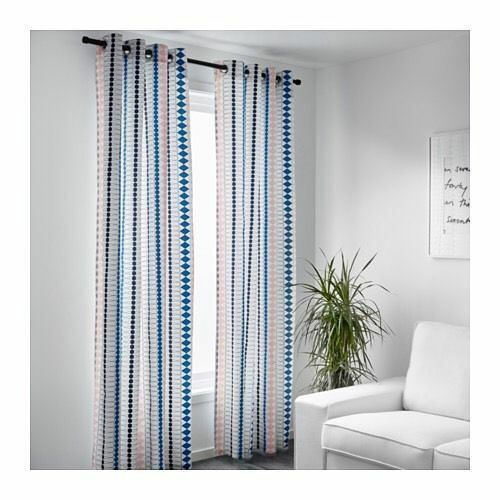 IKEA MOSSFLOX Curtains 1 Pair Multicolor 57 X 98\