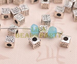 50pcs-5mm-Cube-Square-Tibetan-Silver-Alloy-Loose-Spacer-Beads-Jewelry-Findings