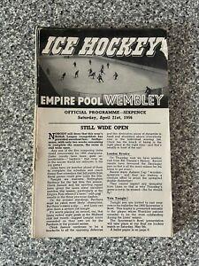 Wembley Empire Pool - Wembley Lions - Ice Hockey Programme 21/04/1956
