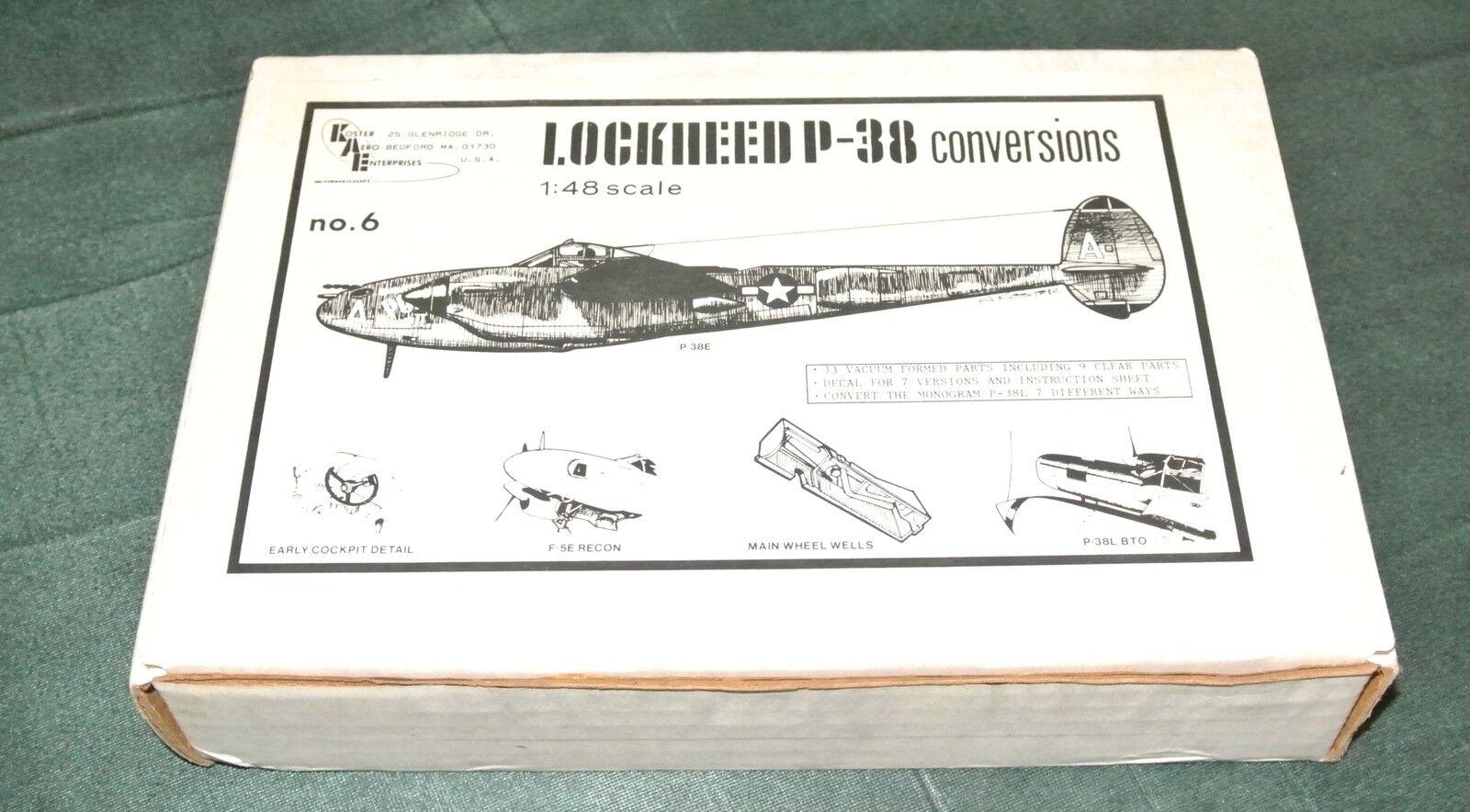 1 48 LOCKHEED P-38 CONVERSIONS ( 2) VAC-FORM FOR  P-38F    F-5A   P-38M   F-5E